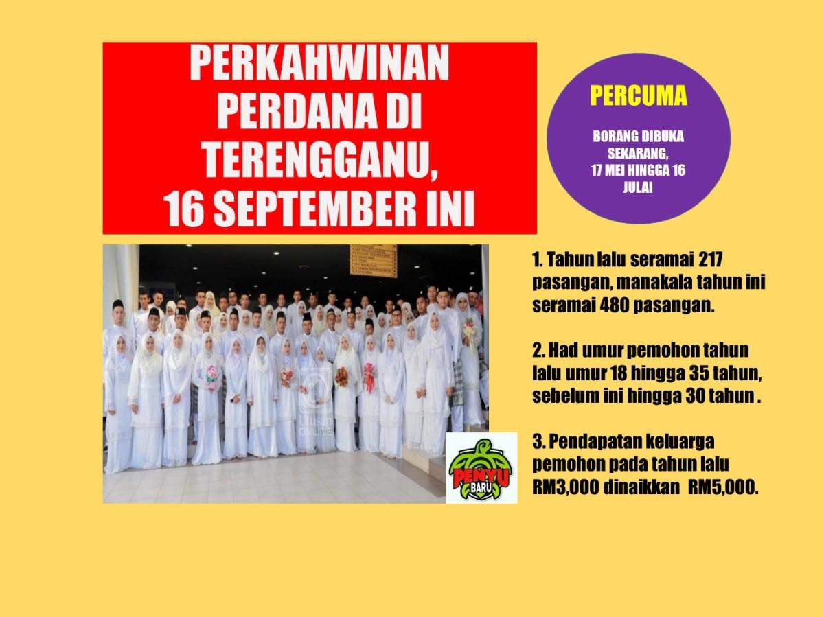 Kerajaan Terengganu Kini Buka Penyertaan Perkahwinan Perdana